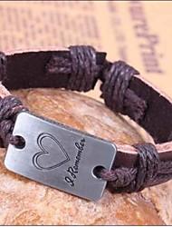 24 centimetri Moda braccialetto in pelle marrone da uomo () (1 Pc)