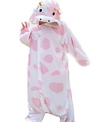 Kigurumi Пижамы Корова трико/Комбинезон-пижама Фестиваль / праздник Нижнее и ночное белье животных Halloween белый / розовыйЖивотные