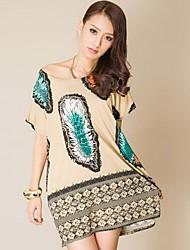 Guangzhou Feather Print Large Size Frauen Fashion Lady Rundhals Kleid (Schneiderei Random)