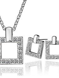 Современный площади сплав олова с платиновым напылением комплект ювелирных изделий
