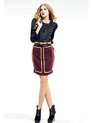 Zoely Frauen Sexy High Waist Goldene Streifen knielangen Rock 101131Q056
