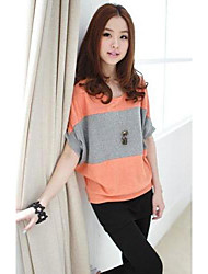 Women `s Casual Cap manches Stripe Imprimer T-shirt