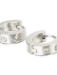 Gift For Boyfriend Sweet Rhinestone Silver Titanium Steel Stud Earrings (1 Pair)