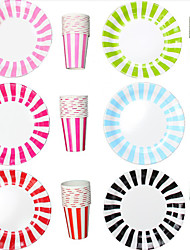 Disposable Paper Tableware Stripe Cups&Paper Plates for Party (More Colors,12 Cups and 12 Plates Per Pack)