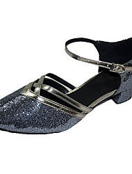 Non Customizable Women's Dance Shoes Modern/Ballroom Sparkling Glitter Chunky Heel Silver/Gold