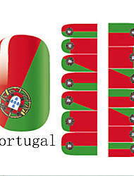 2x14PCS Coupe du Monde Portugal Motif Nail Art Stickers