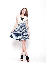 Mujeres Zoely dulce Ruffle Abstractos de línea A-Line la altura del tobillo Vestido 101122L086