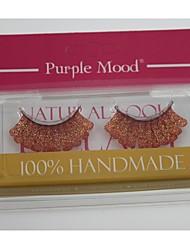 Fait 1 Paire Pro main de haute qualité de fibre synthétique cheveux d'or de couleur rouge épais longues Shimmer en flocons faux cils
