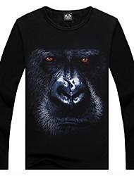 Men's 3D King Kong Print Fleece Lined T-shirt