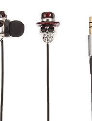 Skull-Shaped Stereo Headphone In-Ear (Red Hat)