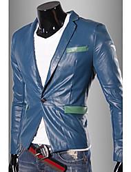 élégante couleur de blocage épissage veste pu hommes