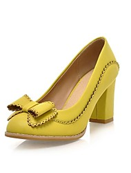 Women's Spring Summer Fall Winter Leatherette Dress Chunky Heel Bowknot Almond Black White Yellow