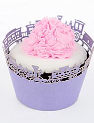 Treinar 12pcs Silicone Roxo Cupcake Wrapper, Laser Cut, Festa / casamento / aniversário decoração favor