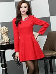 Women's Formal A Line / Skater Dress,Solid V Neck Above Knee Long Sleeve Red / White / Black Cotton All Seasons / Winter