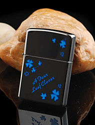 Personalized Engraved Clover Pattern Black Oil Lighter