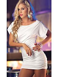 zoey glissière épaule robe blanche des femmes