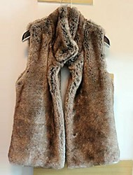 Fur Vest With Fashion Thick Sleeveless Standing Collar In Faux Fur Party/Casual Vest