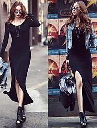Women's Sexy Side Back Slit Black Maxi Dress