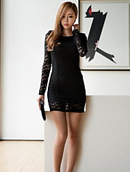 Women's Lace Slim Long Sleeve Mini Dress