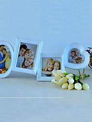 Cuore con Frame Collection ovale siamesi Bianco ABS Photo Wall Set di 4