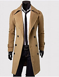 INMUR Men's Stylish Double-Breasted Tweed Coat