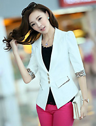 Shangbo Mode Leopard Suit manches trois-quart Manteau (Blanc)