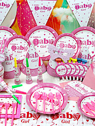 """Sweet Girl"" Party Supplies for Baby Shower - Set of 84 Pieces"