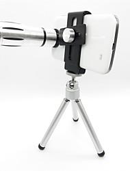 12X Tele-Objektiv-Set mit Universal-Metall-Clip für Iphone 5 / 5S - Silber Grau + Schwarz