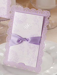 Romantic Lilac Wedding Invitation with Bow - Set of 50
