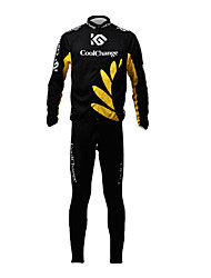 CoolChange Men's Breathable Long Sleeve Bicycle Yellow Tight-fitting  Suit