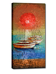 Hand Painted Oil Painting Landscape Fish Boat on The Moon with Stretched Frame