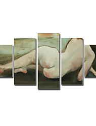Hand Painted Oil Painting People Nude Girl's Boday with Stretched Frame Set of 5