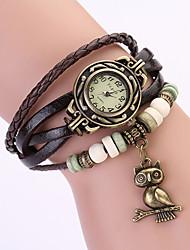 Koshi 2014 Women's Vintage Owl Leather Chain   Wristwatch (Brown)