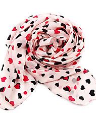 Dongzhiyu Elegant Hearts Printed Velvet Chiffon Scarf(Pink)