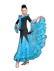 Ballroom Dance Dresses Women's Training Tulle Ruffles Long Sleeve Natural S:85 M:86 L:88 XL:90 XXL:93 XXXL:95