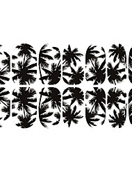 12PCS Black White Coconut Tree Luminous Nail Art Stickers