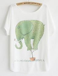 Tee-shirt Aux femmes,Imprimé Décontracté / Quotidien simple Eté Manches Courtes Col Arrondi Blanc Coton Fin