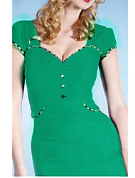 Women's Work Sexy Bodycon Dress,Solid Sweetheart Midi Short Sleeve Black / Green Others Summer