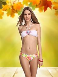 Mulheres Crystal White Vintage Bandeau Mais Sexy Bikinis Beach Wear Swimwear Natação