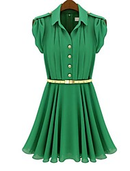 Women's Casual/Daily Dress,Solid Above Knee Short Sleeve Pink / Green Spring / Summer
