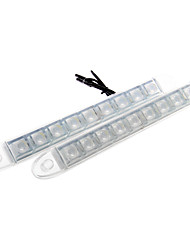 2X Car DIY 6 LED DRL Driving Daytime Running Light Bar Soft Head Lamp Super White 12V