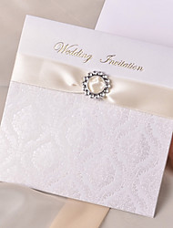 invitation de mariage personnalisé avec un ruban d'or (jeu de 50)