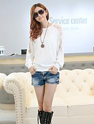 Encaje de cuello redondo de la Mujer Recortable Batwing Sleeve T-Shirt