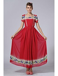 Women's Fashion Red Print Chiffon Ball Maxi Dress