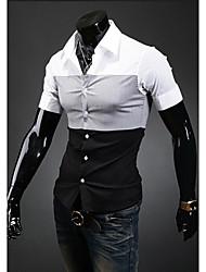 Midoo à manches courtes de couleur de contraste de collier de stand-shirt (Gray)