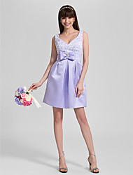 Lanting Knee-length Satin / Lace Bridesmaid Dress - Lavender Plus Sizes / Petite A-line V-neck