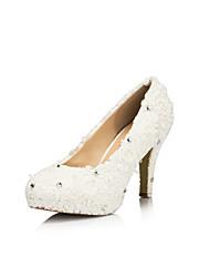 Leatherette Women's Wedding Stiletto Heel Platform Pumps/Heels With Rhinestone/Lace Shoes