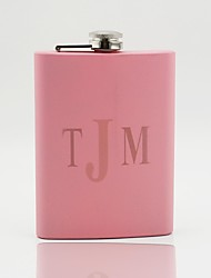 Gift Groomsman /Bridesmaid Personalized Pink Stainless Steel 8-oz Flask