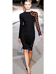 NATURE Women's  Black Round Neck Lace Long Sleeve Sheath Dress