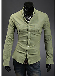 Loisirs simple de Wshgyy Hommes Solid Color manches longues Emerald shirt
